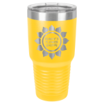 30 Oz Yellow & Silver Coated Ringneck Tumbler with Lid    Drinkware