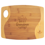 Bamboo Two Tone Cutting Board with Handle Eco-Friendly Bamboo and Cork