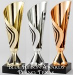 Contemporary Cup in Gold, Silver and Bronze Economy Trophy Cups