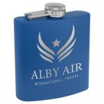 Powder Coated Stainless Steel Flask - Matte Royal Blue Fire, Police and Safety