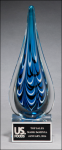 Teardrop - Blue and Black Art Glass Fire, Police and Safety