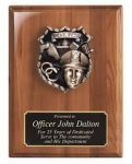 Walnut Piano Finish Plaque with Police Casting Fire, Police and Safety