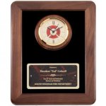 Maltese Cross Clock Fireman Framed Award Fire, Police and Safety