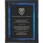 Black Pianowood Plaque with Blue Galaxy Acrylic Plate Fire, Police and Safety