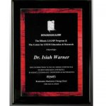 Black Pianowood Plaque with Red Galaxy Acrylic Plate Fire, Police and Safety