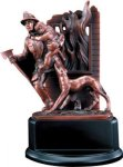 Fireman in Action - Bronze Resin Sculpture Fire, Police and Safety