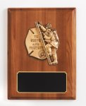 Walnut Piano Finish Plaque with Fireman Casting Fire, Police and Safety