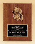 Fireman Award Walnut Plaque with Antique Bronze Finish Casting. Fire, Police and Safety