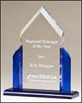 Spire Clear and Blue Acrylic Award. Fire, Police and Safety