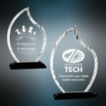 Accent Flame Glass Award with Black Base Flame Awards