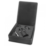 Laserable Leatherette 3-Piece Wine Tool Gift Set - Black/Gold Flasks and Bar Items