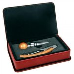 Laserable Leatherette 2-Piece Wine Tool Gift Set - Maroon/Rose' Flasks and Bar Items