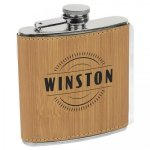 Flask - Bamboo Finish Leatherette Flasks and Bar Items