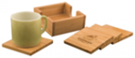 Bamboo Square 4-Coaster Set with Holder Flasks and Bar Items