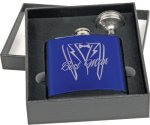 Flask Gift Set - Stainless Steel - Gloss Blue Flasks and Wine Bags