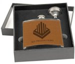 Flask Gift Set - Stainless Steel with Leather Wrap Flasks and Wine Bags