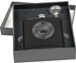 Flask Gift Set - Stainless Steel - Matte Black Flasks and Wine Bags