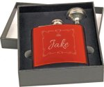 Flask Gift Set - Stainless Steel - Gloss Red Flasks and Wine Bags