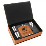 Leatherette Flask Gift Box Set - Rawhide Flasks and Wine Bags