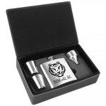 Leatherette and Stainless Steel Flask Gift Box Set - Silver Flasks and Wine Bags