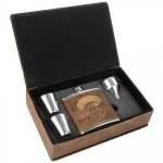 Leatherette Flask Gift Box Set - Rustic/Gold Flasks and Wine Bags