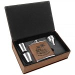 Leatherette Flask Gift Box Set - Dark Brown Flasks, Mugs, Bottles