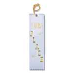 3 Third Place Ribbon with Card and String Flat Ribbons - Card and String