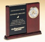 Brass and Rosewood Piano Finish Desk Clock with Logo Plate Frame and Pen Set Clocks