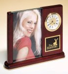 Brass and Rosewood Piano Finish Photo Desk Clock Frame and Pen Set Clocks