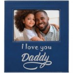 Leatherette Photo Frame with Engraving Area - Blue/Silver   Frames