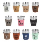 2 oz.Leatherette and Stainless Steel Shot Glass Frames and Gifts