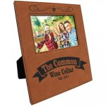 Leatherette Photo Frame with Engraving Area - Rawhide/Black  Frames and Gifts