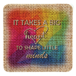 Burlap Square Sublimatable Patch with Adhesive  Full Color Novelties