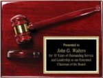 Rosewood Finish Plaque with Gavel and Sound Block Gavels
