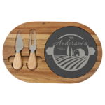 Acacia Wood/Slate Oval Cheese Set with Two Tools Gift Items