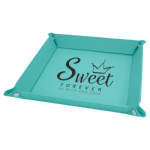 Teal Laserable Leatherette Snap Up Tray with Silver Snaps    Gift Items
