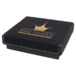 Gift Box with Leatherette Lid - Black/Gold Gift Items