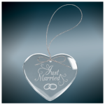 Heart Clear Glass Ornament with Silver String Gift Items