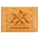 Bamboo Cutting Board with Butcher Block Inlay Gift Items