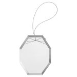 Octagon Clear Glass Ornament with Silver String Gift Items