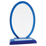 A New Item! Oval Blue Regal Glass Award    Glass Awards
