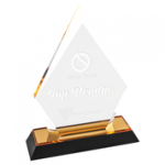 Impress Arrow Point Acrylic Award - Gold Gold Colored Acrylic Awards