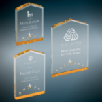 Star Point Acrylic Award - Gold Gold Colored Acrylic Awards