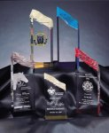 Glacier Tower Acrylic Award - Gold, Red, Blue and Purple Gold Colored Acrylic Awards