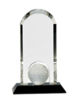 Golf - Crystal Dome with Inset Golf Ball on Black Pedestal Base Golf Awards