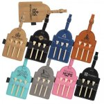 Leatherette Golf Bag Tag with Wood Tees Golf Gift and Desk Items