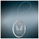 Oval Clear Glass Ornament with Silver String Holidays