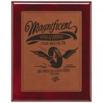 Leatherette Rawhide Plate and Rosewood Piano Finish Plaque Leatherette Plaques