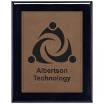 Leatherette Dark Brown Plate and Black Piano Finish Plaque Leatherette Plaques