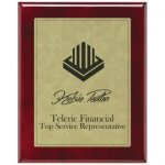 Leatherette Light Brown Plate and Rosewood Piano Finish Plaque Leatherette Plaques